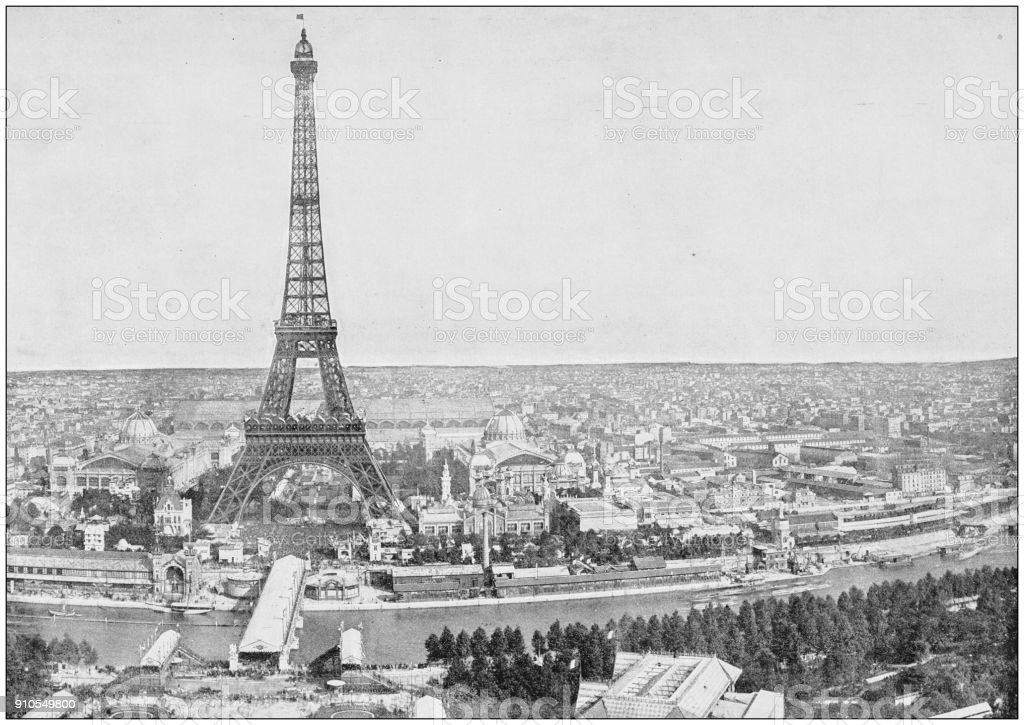 Antique photograph of World's famous sites: Panorama of Paris, France stock photo