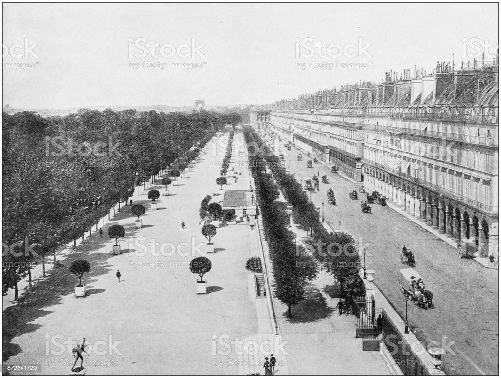 Antique photograph of World's famous sites: Paris, Rue de Rivoli stock photo
