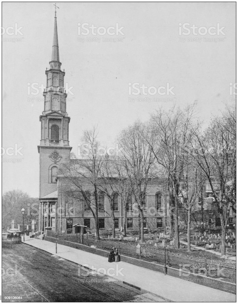 Antique photograph of World's famous sites: Park Street Church, Boston stock photo