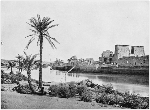 Antique photograph of World's famous sites: Philae