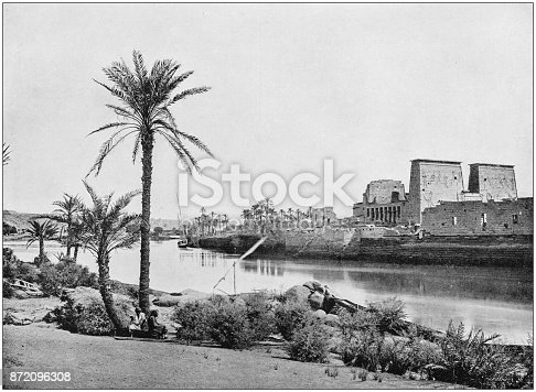 Antique photograph of World's famous sites: Philae