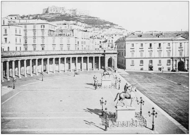 antique photograph of world's famous sites: piazza del plebiscito, naples, italy - napoli piazza plebiscito foto e immagini stock