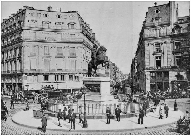 Antique photograph of World's famous sites: Place des Victoires, Paris Antique photograph of World's famous sites: Place des Victoires, Paris 1900 stock pictures, royalty-free photos & images