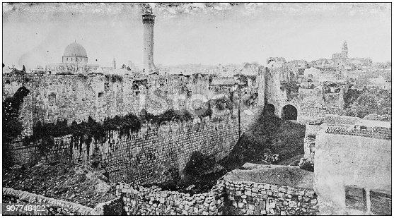 Antique photograph of World's famous sites: Pool of Bethesda, Jerusalem, Palestine
