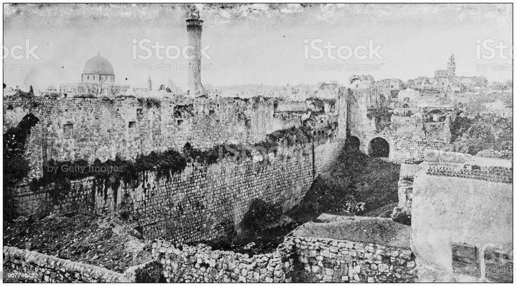 Antique photograph of World's famous sites: Pool of Bethesda, Jerusalem, Palestine stock photo