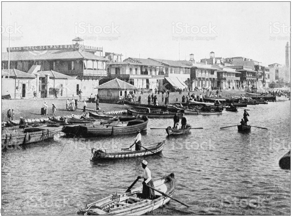 Antique photograph of World's famous sites: Port Said stock photo