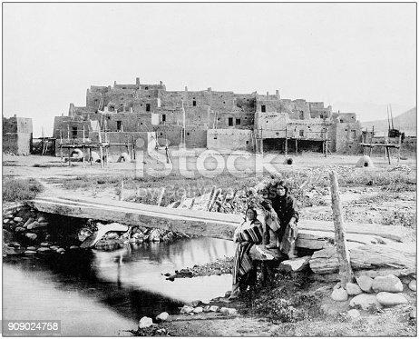 Antique photograph of World's famous sites: Pueblo de Taos, New Mexico