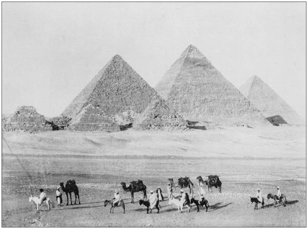 Antique photograph of World's famous sites: Pyramids of Giza, Egypt Antique photograph of World's famous sites: Pyramids of Giza, Egypt 1890 stock pictures, royalty-free photos & images