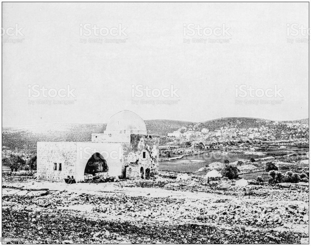 Antique photograph of World's famous sites: Rachel's Tomb near Bethlehem, Palestine stock photo