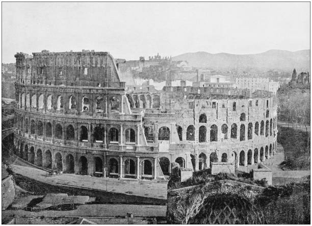antique photograph of world's famous sites: rome coliseum - colosseo 1900 foto e immagini stock