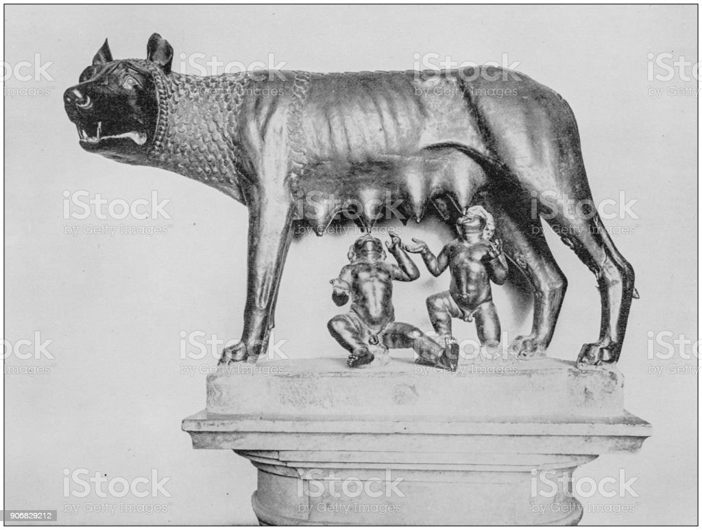 Antique photograph of World's famous sites: Romulus and Remus sucking the wolf, Rome, Italy stock photo