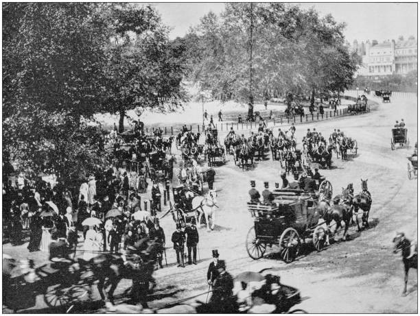 Antique photo des sites célèbres du monde: une ligne pourrie, Hyde Park, Londres, Angleterre - Photo