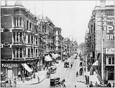 Antique photograph of World's famous sites: San Francisco Grant Avenue