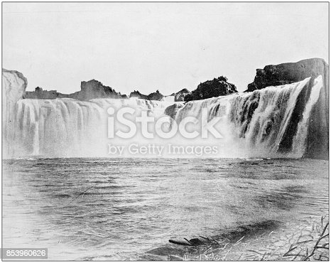 Antique photograph of World's famous sites: Shoshone Falls, Idaho, US