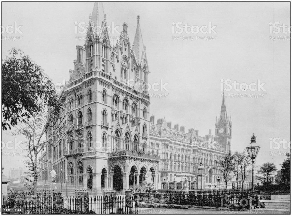 Antique photograph of World's famous sites: St Pancras Station, London, England stock photo