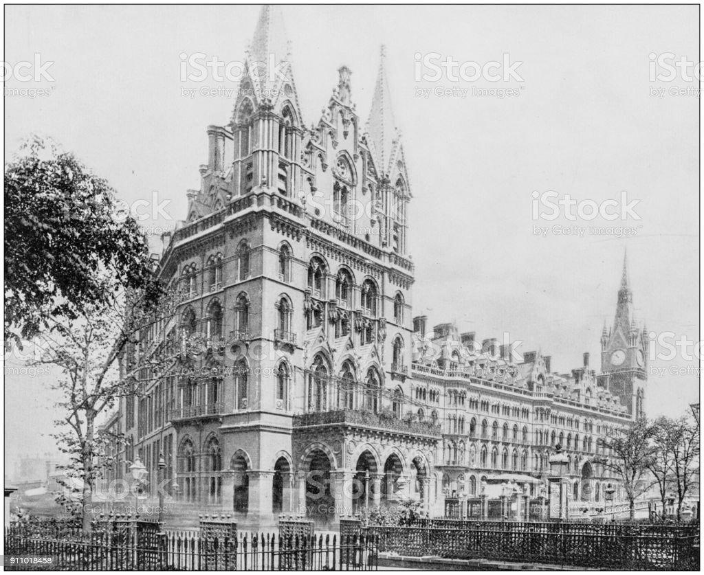 Antique photograph of World's famous sites: St Pancras Station, London, England stock photo