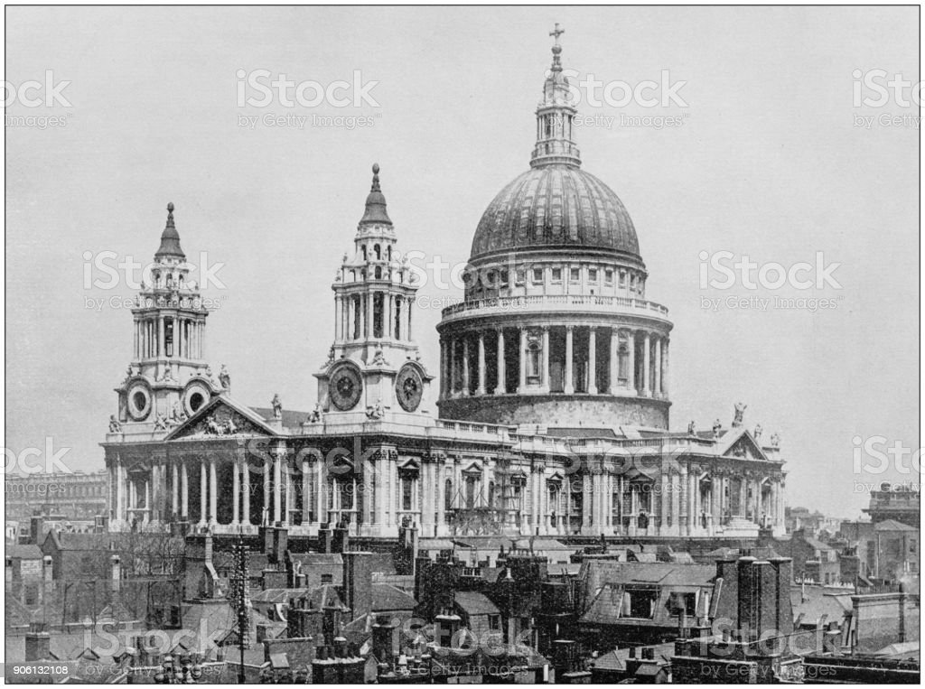 Antique photograph of World's famous sites: St Paul's Cathedral, London, England stock photo