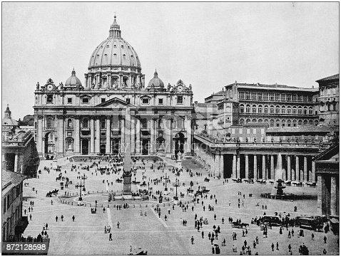 Antique photograph of World's famous sites: St Peter's