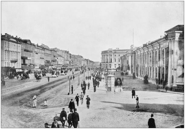 Antique photograph of World's famous sites: St. Petersbourg Antique photograph of World's famous sites: St. Petersbourg 20th century history stock pictures, royalty-free photos & images