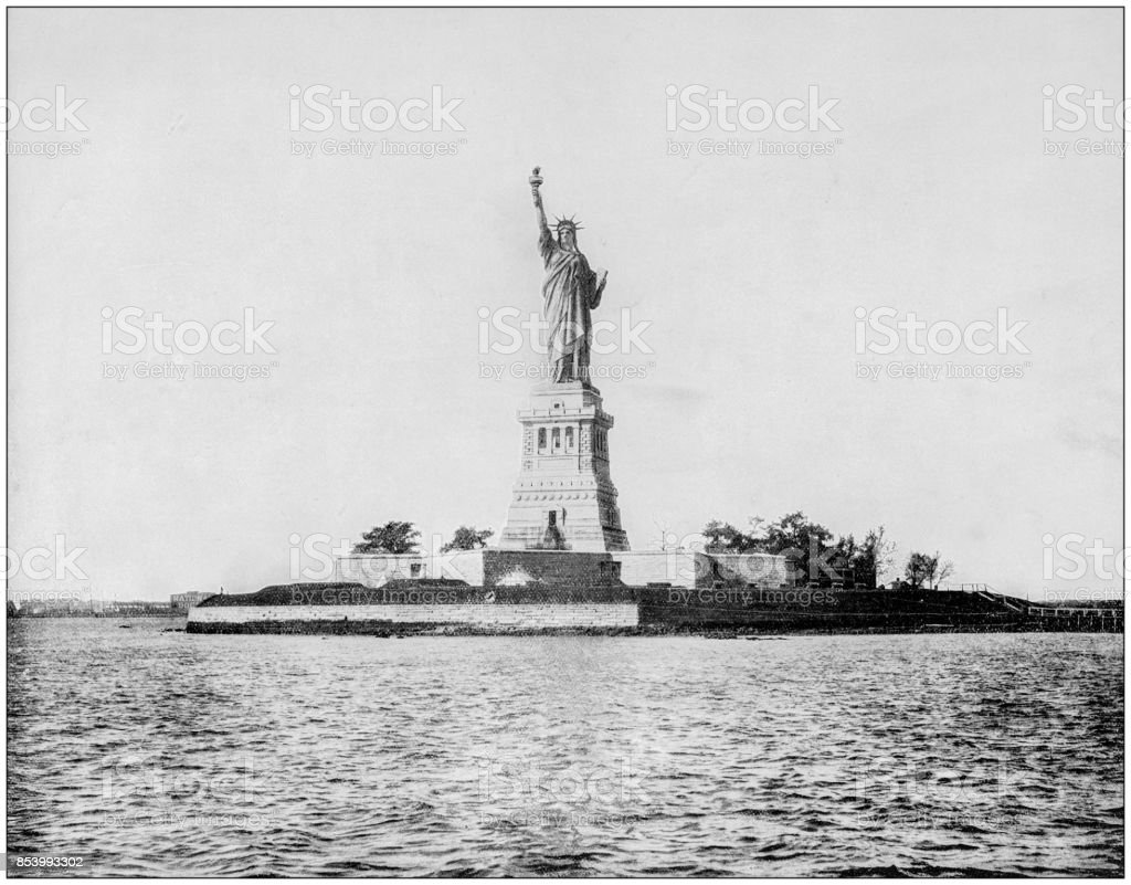 Antique photograph of World's famous sites: Statue of Liberty, New York Harbour, US stock photo