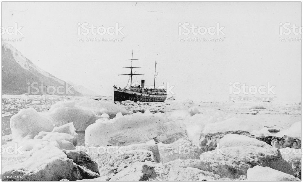 Antique photograph of World's famous sites: Steamer Queen in Glacier Bay, Alaska stock photo