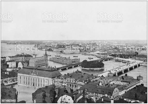Antique photograph of World's famous sites: Stockholm