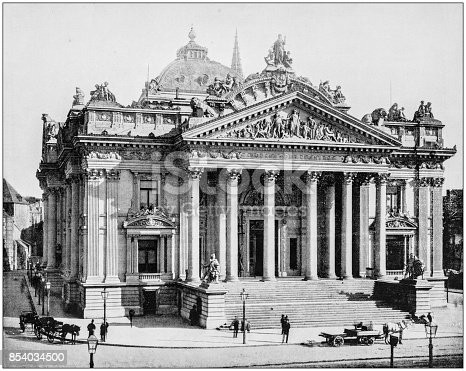 Antique photograph of World's famous sites: The Bourse, Brussels, Belgium