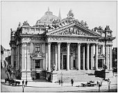 Antique photograph of World's famous sites: The Bourse, Brussels, Belgium