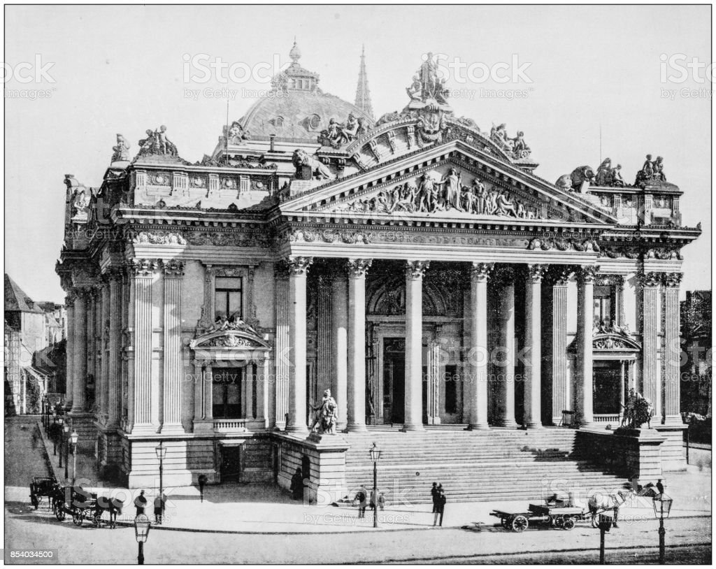 Antique photo des sites célèbres du monde : la Bourse, Bruxelles, Belgique - Photo