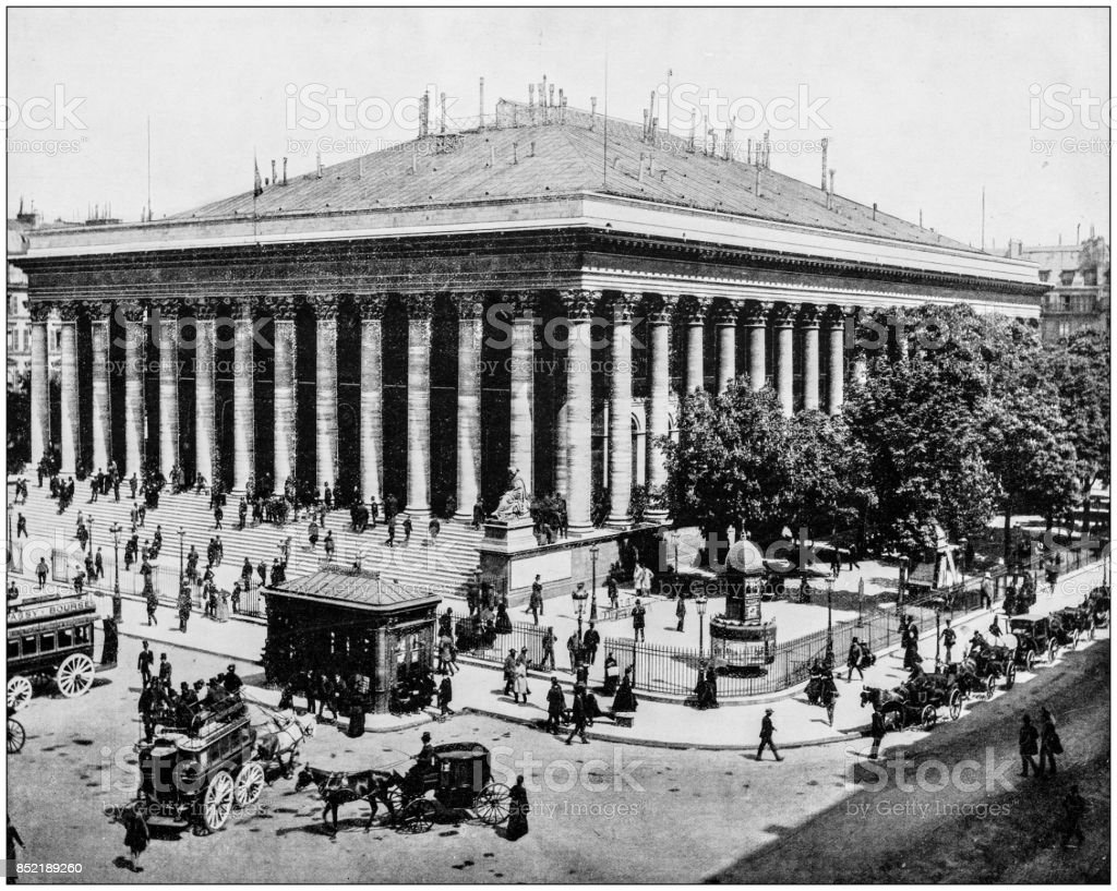 Antique photo des sites célèbres du monde : la Bourse (bourse), Paris, France - Photo