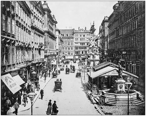 Antique photograph of World's famous sites: The Graben, Vienna, Austria