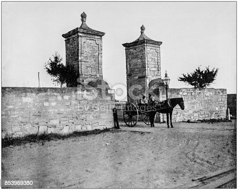 Antique photograph of World's famous sites: The Old City Gate, St Augustine, Florida, US
