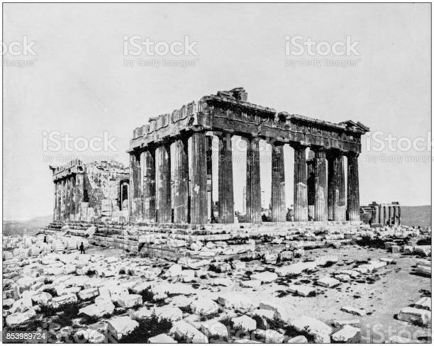 Antique photograph of World's famous sites: The Parthenon, Athens, Greece