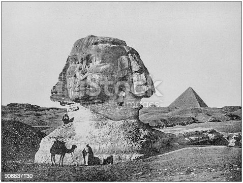 Antique photograph of World's famous sites: The Sphinx, Egypt