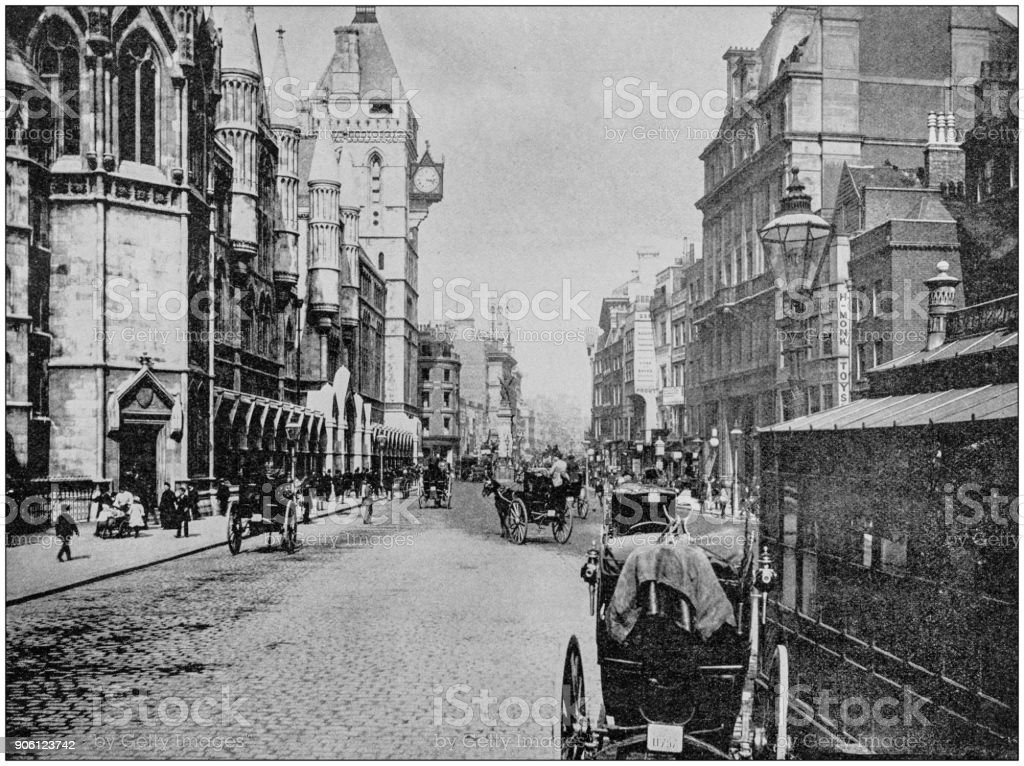 Antique photograph of World's famous sites: The Strand, London, England stock photo