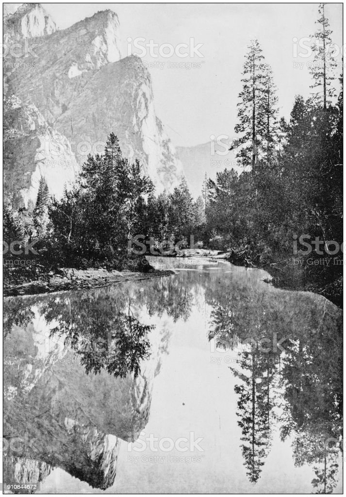 Antique photograph of World's famous sites: The Three Brothers, Yosemite, California, US stock photo