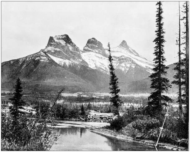 Antique photograph of World's famous sites: The three sisters, Canmore, Canadian Pacific Railway, Canada Antique photograph of World's famous sites: The three sisters, Canmore, Canadian Pacific Railway, Canada 1890 stock pictures, royalty-free photos & images