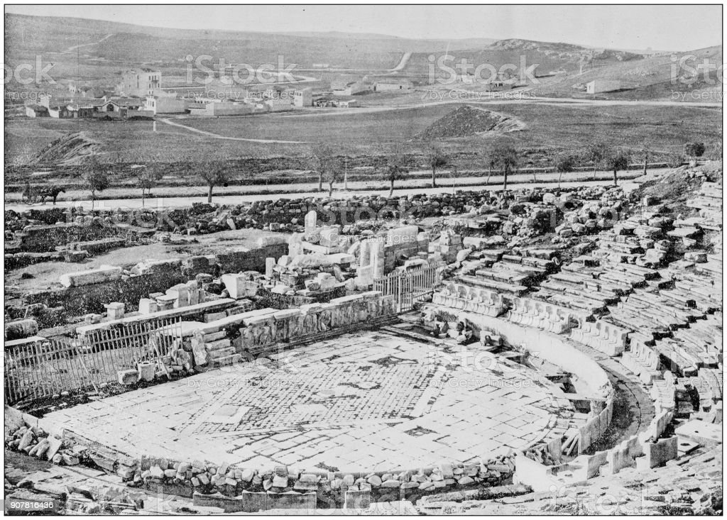 Antique photograph of World's famous sites: Theater of Bacchus, Athens, Greece stock photo