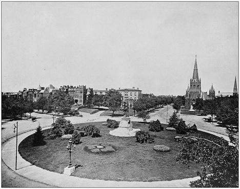 Antique photograph of World's famous sites: Thomas Circle, Washington DC