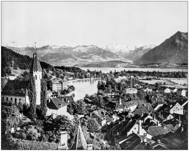 antikes foto des weltweit berühmten sehenswürdigkeiten: thun, schweiz - thun switzerland stock-fotos und bilder