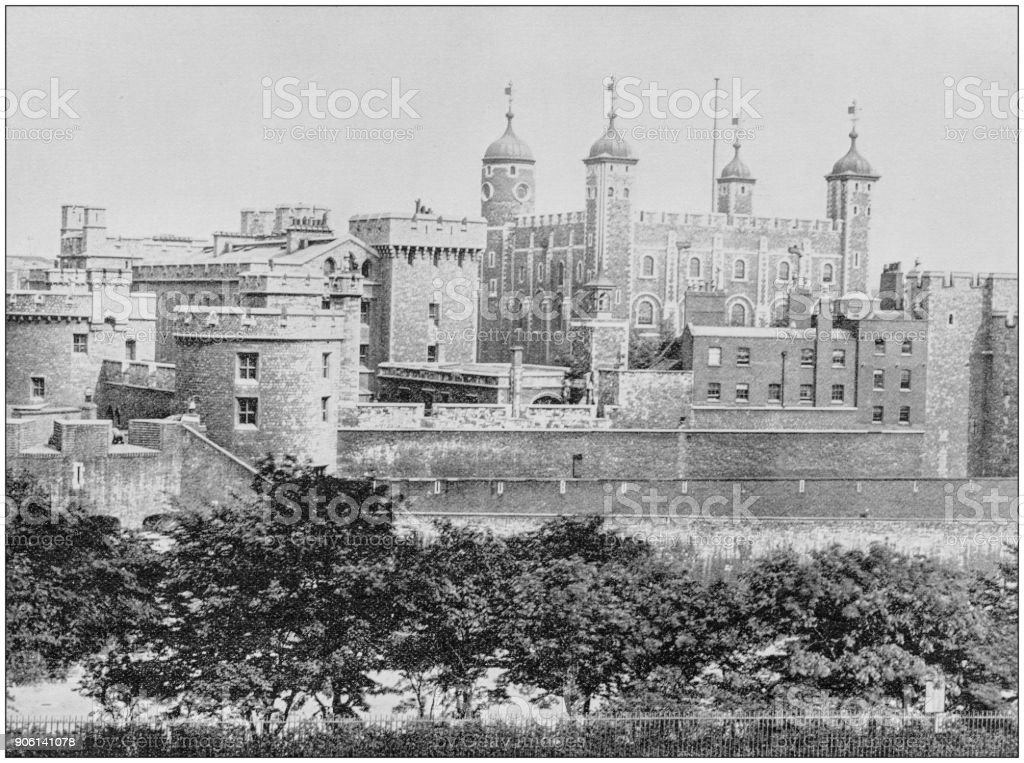 Antique photograph of World's famous sites: Tower of London, London, England stock photo