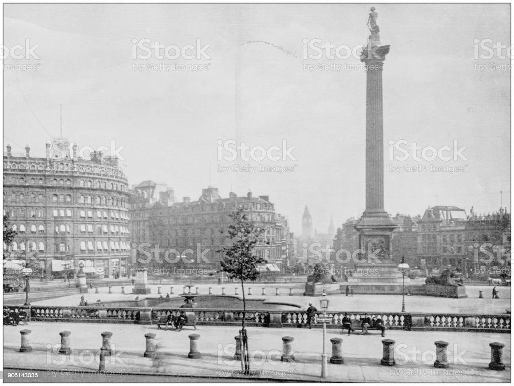 Antique photograph of World's famous sites: Trafalgar Square, London, England stock photo