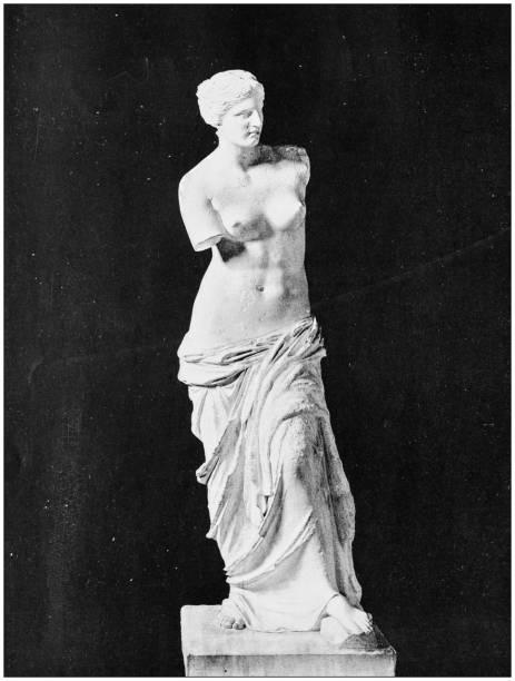 antique photo des sites célèbres du monde: vénus de milo - venus photos et images de collection