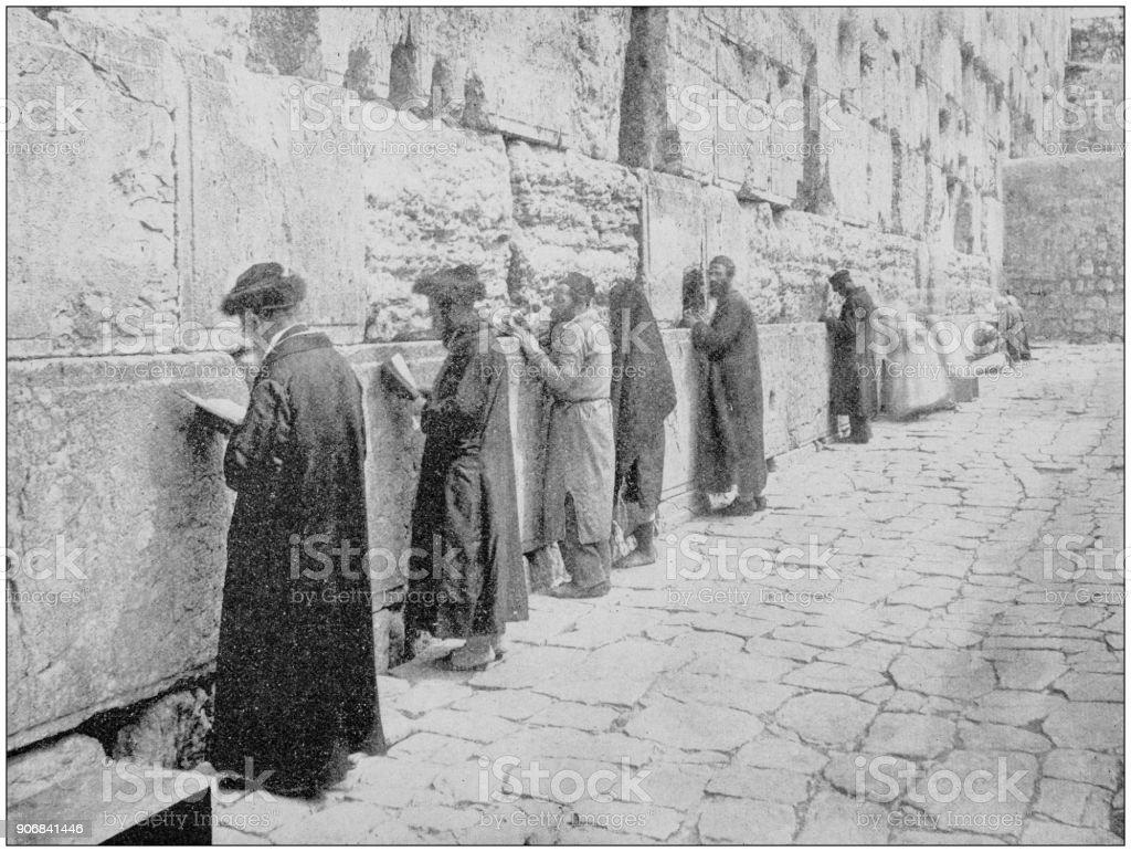 Antique photograph of World's famous sites: Wailing Wall, Jerusalem, Palestine stock photo