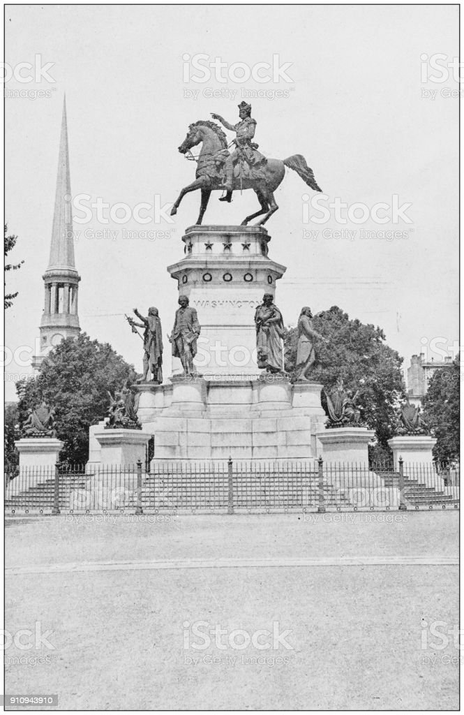 Antique photograph of World's famous sites: Washington Monument, Richmond, Virginia stock photo