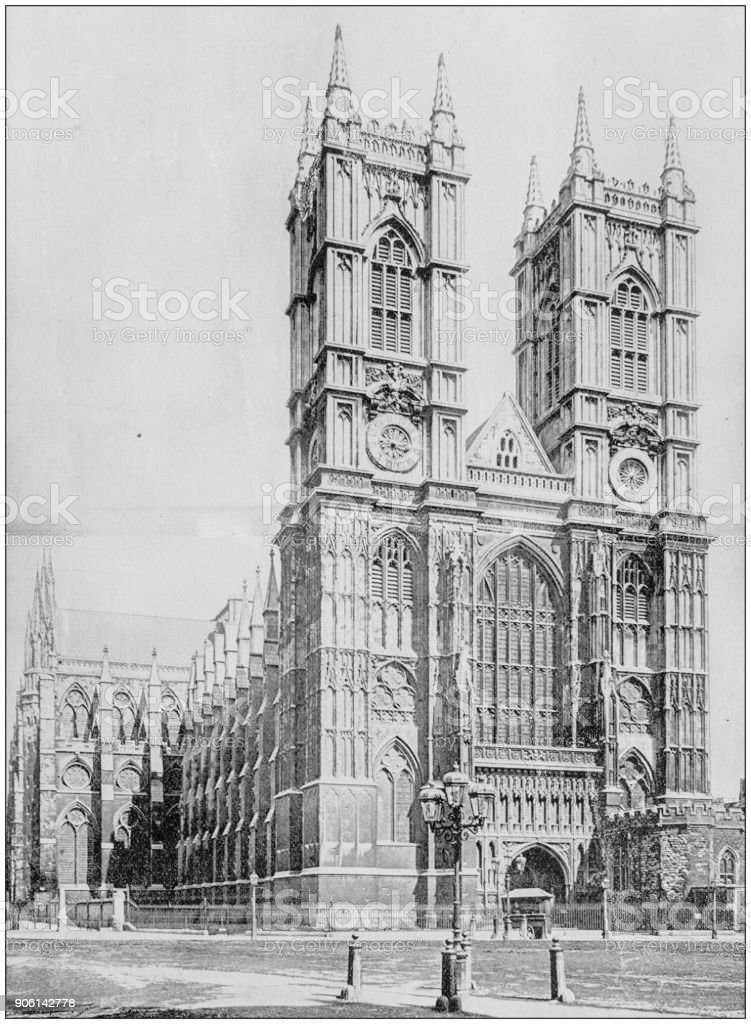Antique photograph of World's famous sites: Westminster Abbey, London, England stock photo