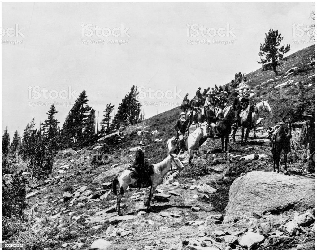 Antique photograph of World's famous sites: Windy Point, Pike's Peak, Colorado, US stock photo