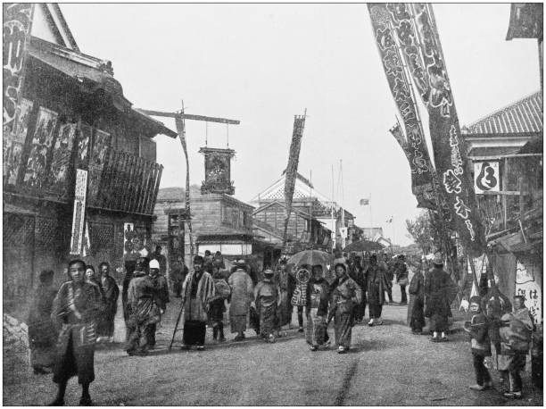 Antique photograph of World's famous sites: Yokohama Antique photograph of World's famous sites: Yokohama 20th century history stock pictures, royalty-free photos & images