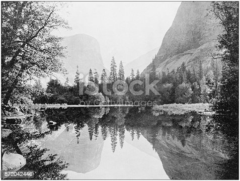 Antique photograph of World's famous sites: Yosemite Valley Mirror Lake