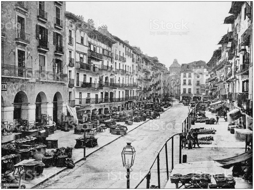 Antique photograph of World's famous sites: Zaragoza stock photo